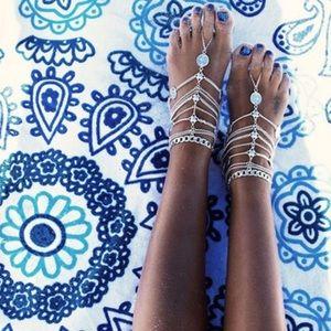 2-Multilayer Tassel & Coin Barefoot Sandal Anklets